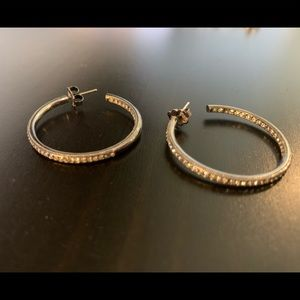 Pewter Hoop Earrings with Crystals